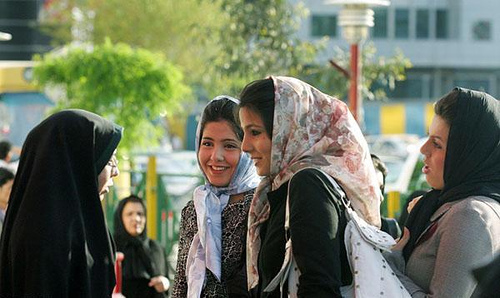 IStanbul to Peking. Iranian women in headscarves